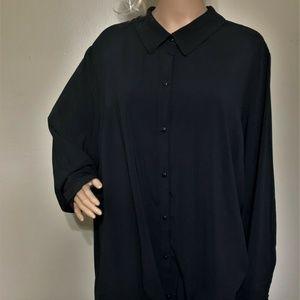 Susan Graver Top  Women Black Long Sleeve Size 24W